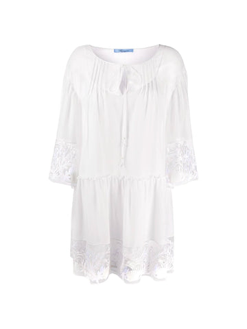 Gauze Embroidered Peasant Dress
