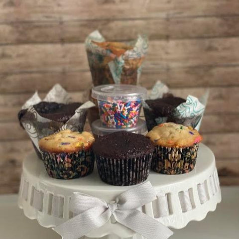 DIY Cupcake kit from Yummy Delicious Bakery, a locally-owned bakery in the heart of Denver, available at farmers market via online ordering & curbside pick-up. More meal kits from local restaurants also available. Shop local!