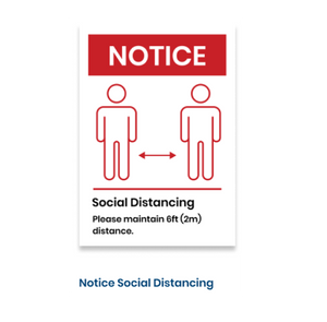 "14""h x 10""w removable vinyl decal - Notice Social Distancing Design"