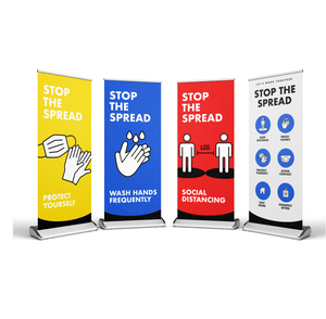 "33"" x 81"" Stop The Spread Banner Stands"