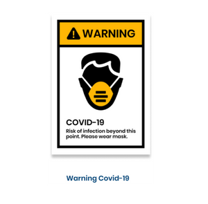 "14""h x 10""w removable vinyl decal - Warning Covid-19 Design"