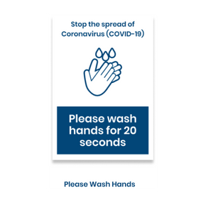"14""h x 10""w removable vinyl decal - Please wash hands design"