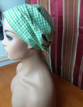 Load image into Gallery viewer, MELISSA  Green Checkered Scrub Hat with satin Lined With Pouch Bag