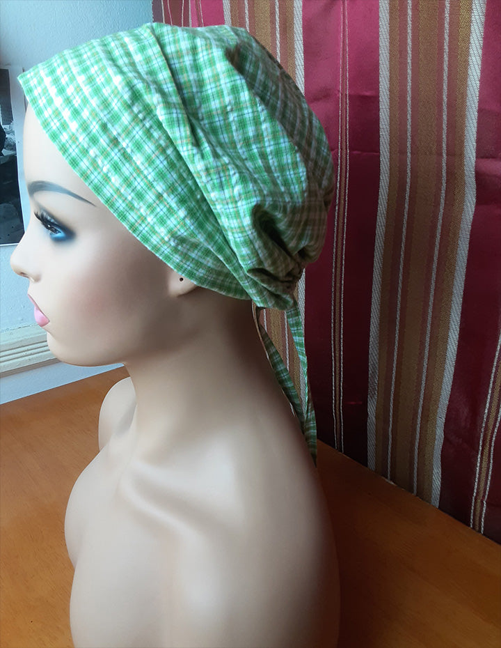 MELISSA  Green Checkered Scrub Hat with satin Lined With Pouch Bag