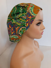 Load image into Gallery viewer, MELANA Paisley Bouffant Scrub Hat W/Matching  N95 Style Face Mask