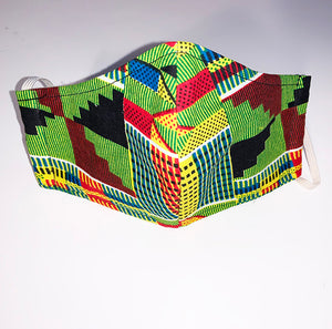 HORANA African Print scrub Hat W/Matching Face Mask and Pouch Bag