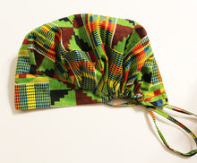Load image into Gallery viewer, MERCY Surgical Kente Green Satin Line Bouffant Scrub Hat With Pouch Bag