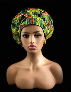 MERCY Surgical Kente Green Satin Line Bouffant Scrub Hat With Pouch Bag