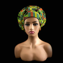 Load image into Gallery viewer, AGAPE AFRICAN PRINT GREEN BOUFFANT NURSES HAT W/MATCHING PLEATED FACE MASK