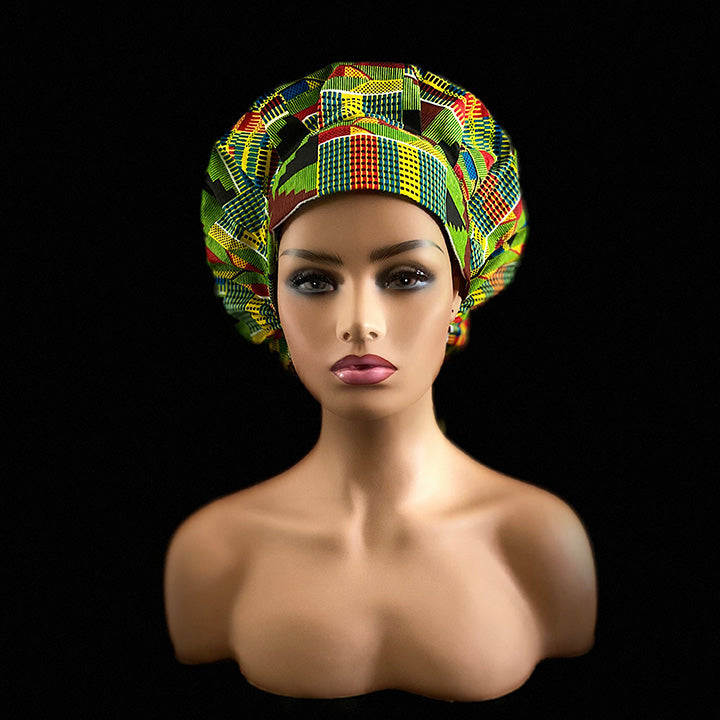 AGAPE Kente Print Bouffant Nurses Hat With Matching Pleated Face Mask