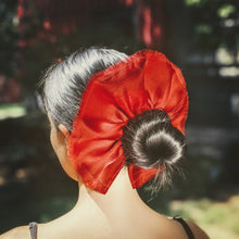 Load image into Gallery viewer, carnelian red organza hair scrunchy with raw edges