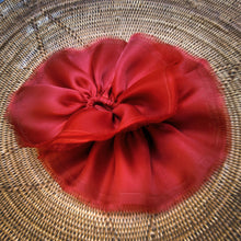 Load image into Gallery viewer, carnelian red organza hair scrunchies with raw edges