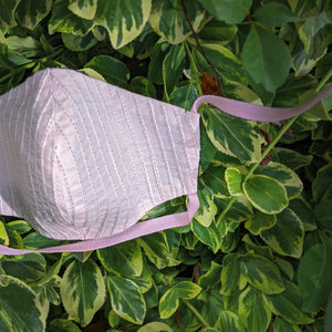 light pink pinstripe cotton face mask