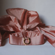 Load image into Gallery viewer, pink silk choker collar with long ties and gold d-ring