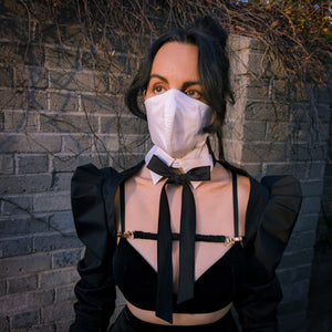 white cotton structured face mask with collar, styled with black terno butterfly sleeve bolero jacket