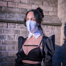 Load image into Gallery viewer, white cotton structured face mask with collar, styled with black terno butterfly sleeve bolero jacket