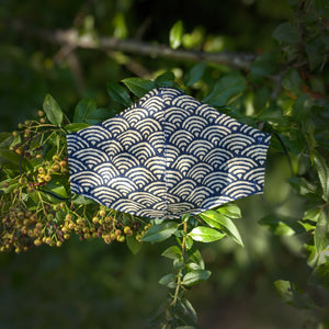 japanese cotton face mask with navy and tan waves seigaiha print