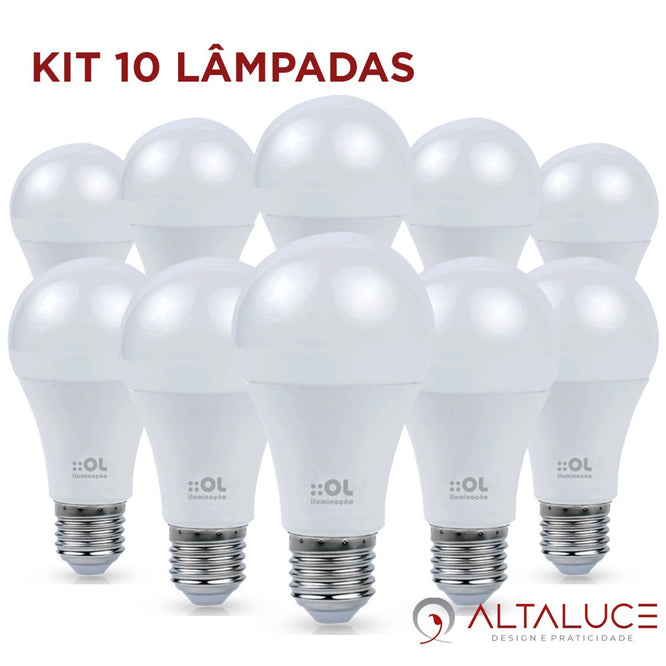 Kit 10 Lâmpadas Bulbo LED 12W Multivolt