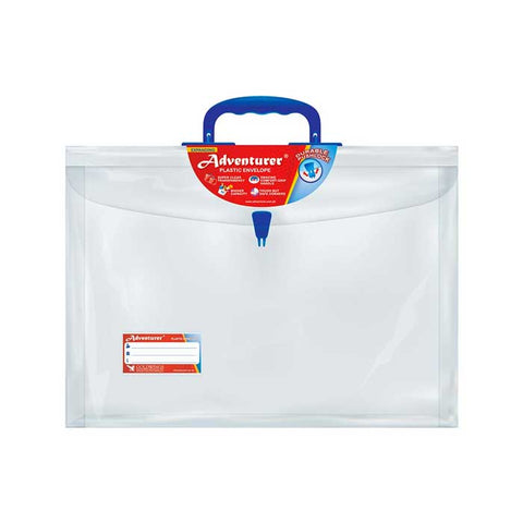 Adventurer Plastic Expanding Envelope Long Clear w/handle Push Lock E11LWH