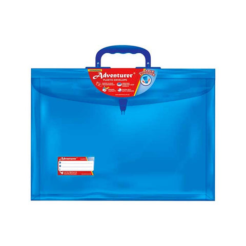 Adventurer Plastic Expanding Envelope Long Colored w/handle Push Lock E13LWH