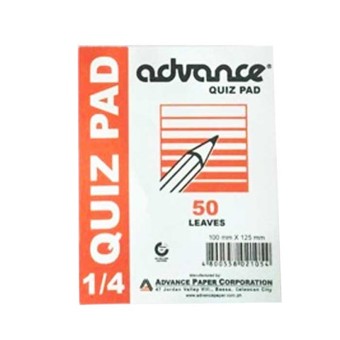 Advance Quiz Pad 1/4
