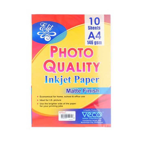 ELIT PHOTO QLTY. INKJET PAPER MATTE FINISH 146gsm A4/ 10'S
