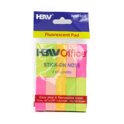 HBWOffice Stick-On Note Fluorescent Pad 10's