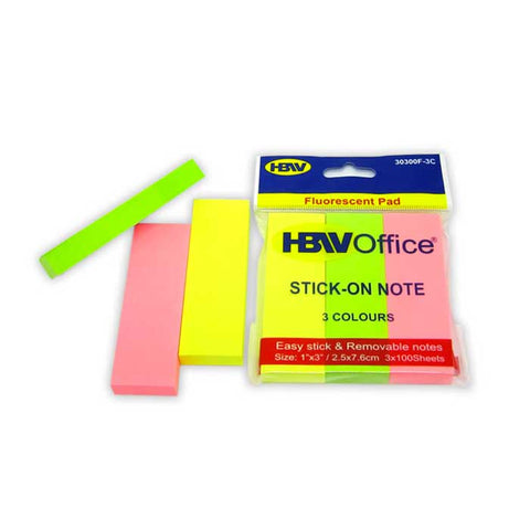 HBWOffice Stick-On Note Fluorescent Pad 3's
