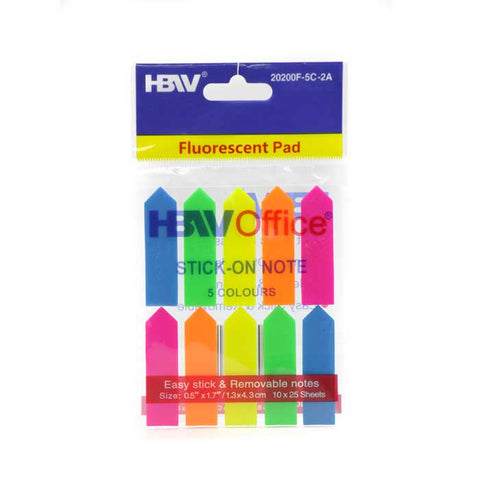 HBWOffice Stick-On Note Fluorescent Plastic Pointed