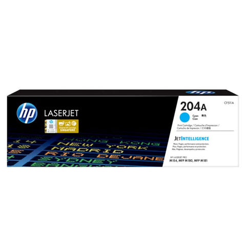HP 204A Cyan Original LaserJet Toner Cartridge, CF511A