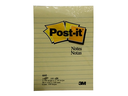 3M Post-it Note 660 100's Yellow 4 x 6