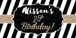 Black, White and Gold Birthday Banner