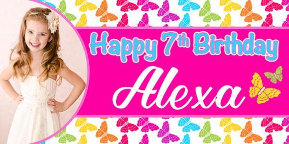 Colorful Butterfly Birthday Banner