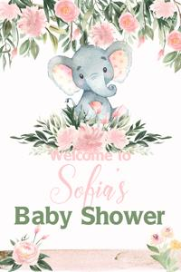 Elephant with Pink Flowers Welcome Sign