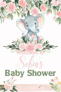 Elephant with Pink Flowers Yard Sign