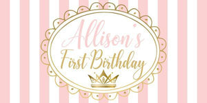 Gold and Pink Crown Birthday Banner