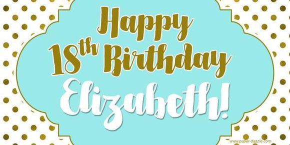 Gold and Teal Polka Dots Birthday Banner
