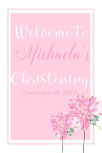 Light Pink Flowers Welcome Sign