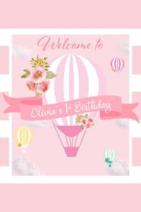 Pink Hot Air Balloons Welcome Sign