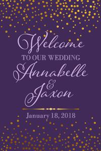 Purple and Gold Welcome Sign