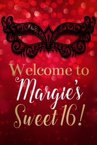 Red Masquerade Mask Welcome Sign