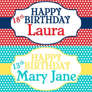 Red or Teal Dots Birthday Banner