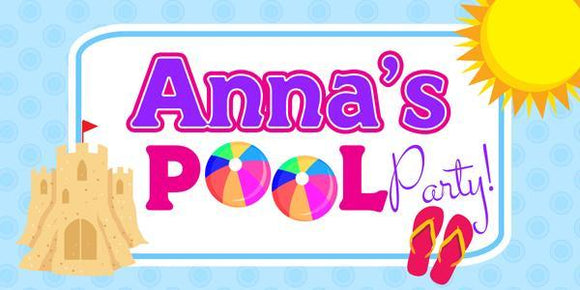 Sandcastle Pool Party Banner