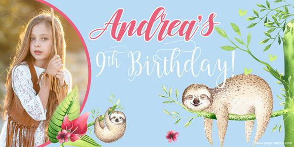 Sloths Birthday Banner