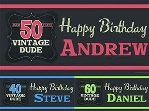 Vintage Dude Birthday Banner
