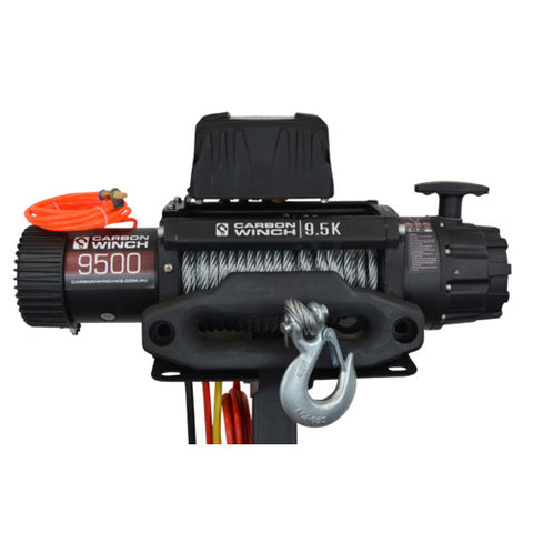 CARBON 12K 12000LB ELECTRIC WINCH WITH SYNTHETIC ROPE 24 VOLT MODEL