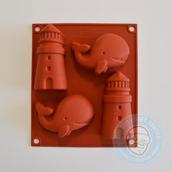 SILICONE MOLD WHALE-LIGHTHOUSE 4 POSITIONS