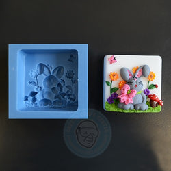 SPECIAL CONSTRUCTION MOLD BUNNY WITH FLOWERS