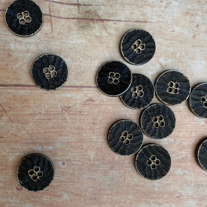 20mm Navy Coloured Button With Burnt Effect Edge | TGB