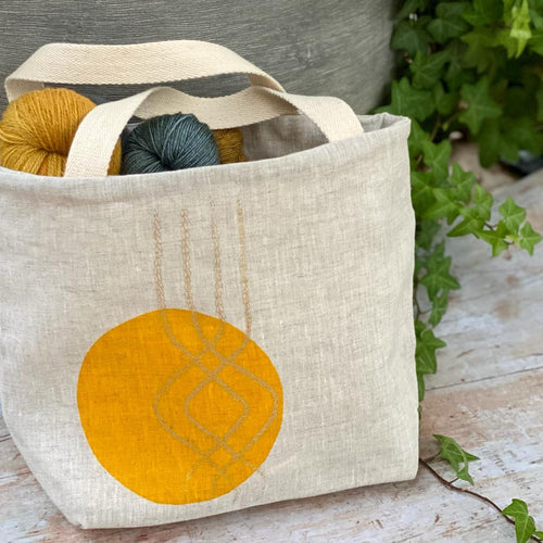 Hand Printed Irish Linen Project Bag | 29 Bride Street